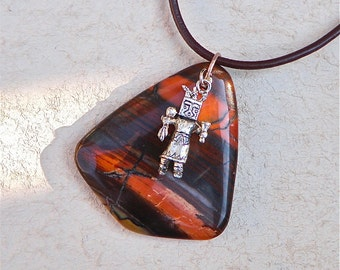 Kachina and Red Tiger Eye Gemstone Necklace