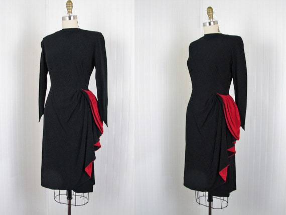 RESERVED 1940s Dress - Vintage 40s Black Red Asymmetrical Draped Designer Crepe Rayon Cocktail Party Dress - Worshipped