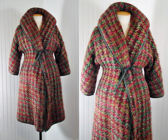 Vintage 1960s Coat - 60s Bonnie Cashin Coat Designer Mohair and Leather Noh M L - Always and Forever