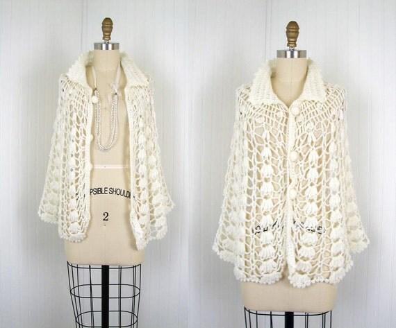 R E S E R V E D 1970s Sweater Cloak - Vintage 70s Ivory Hand Knit Crochet Hippie Cape Cardigan - Walking Into Spiderwebs