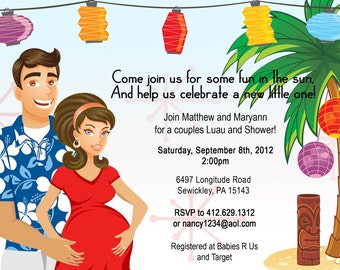 Hawaiian Luau CoEd Baby BBQ Shower Invitation