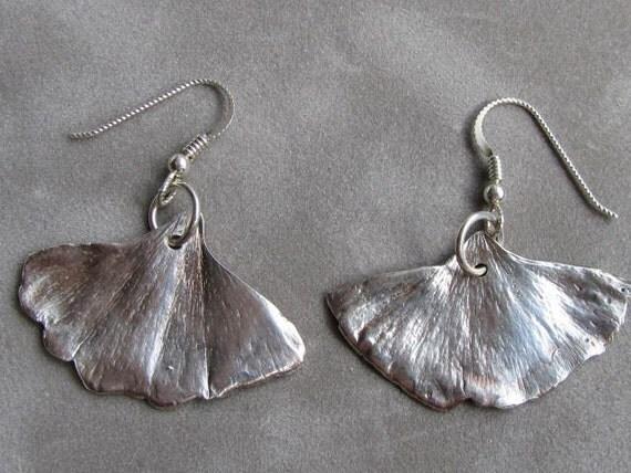 Small Silver Ginko Leaf Earrings