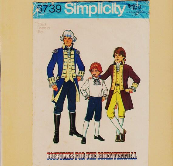 Boys Reenactment Costume Size 8 Revolutionary War American History Jacket Knickers Knee Britches Ruffled Shirt Simplicity 6739