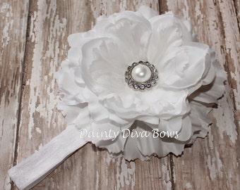 White Peony Flower Elastic Headband, Baptism Christening, Baby Headband, Newborn Headband, Toddler Headband, Photo Prop, Baby Gift