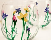 Wild Flowers - hand painted stemless wine glasses - set of 2