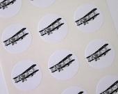 Biplane Airplane Stickers One Inch Round Seals