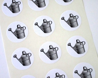 Watering Can Stickers One Inch Round Seals