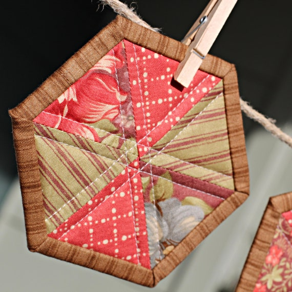 Items similar to quilted coasters hexagon shaped with for Beach house blackbird designs moda
