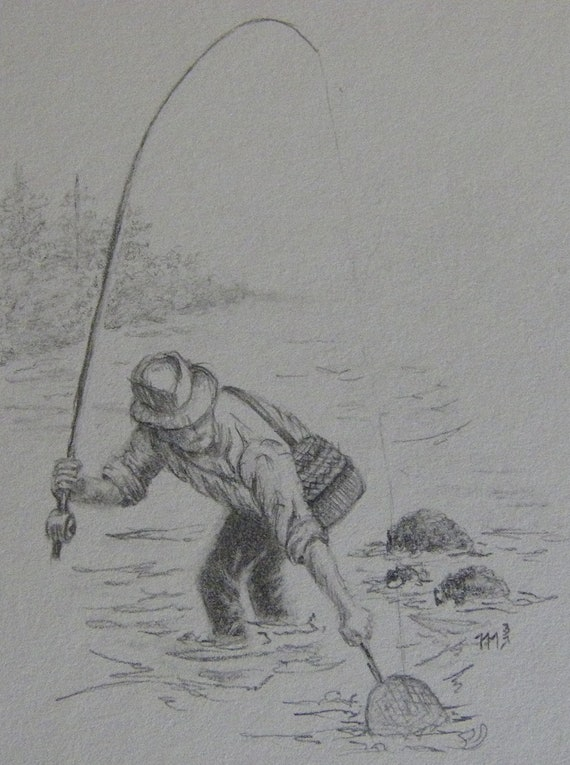 Fishing black and white pencil drawing by m3drawingsplus for Fish scenery drawing