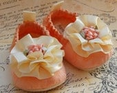 SORBET-peach lace baby shoes-size2 ready to ship
