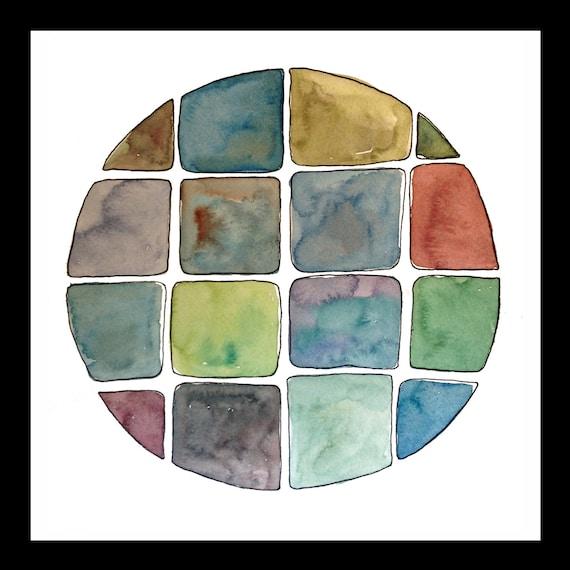 """Original watercolor painting - """"Blocks"""""""