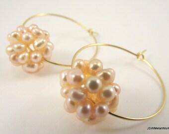 Peach Pearl Cluster Gold Hoop Earrings, Peach Pearl Earrings, Gold Hoop Earrings