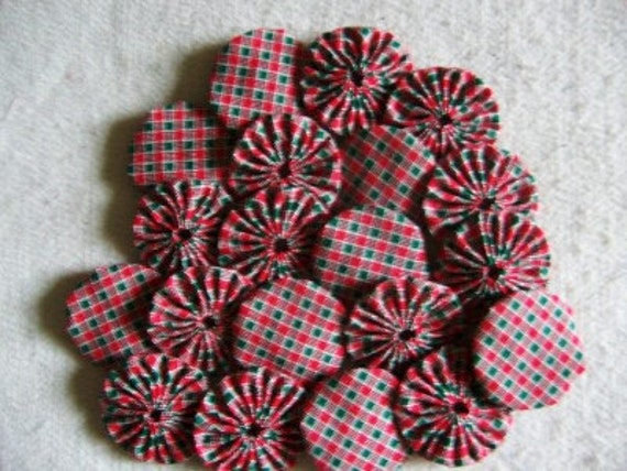 10 Handmade Christmas 2 inch  Yo Yos YoYo Pieces Embellishments Suffolks Puffs Rosettes Accessories Quilt Block Scrapbooking Applique