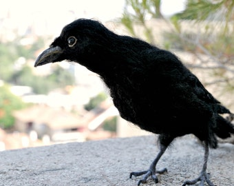 Needle Felted  Animal.The black crow. Real size .Made to order.