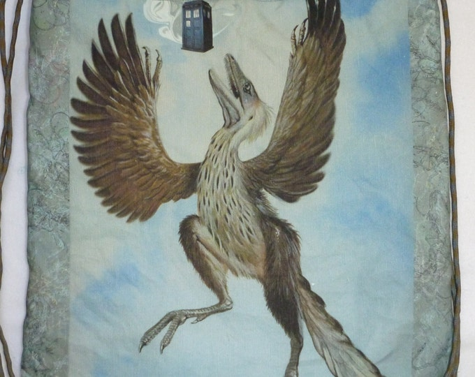 Protoarcheopteryx finds a phone booth cotton-linen canvas backpack/tote Custom Print made to order