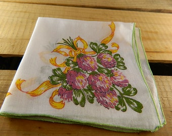 """Vintage Hankie/Hanky Bunch of Clover Tied with a Ribbon: """"Sweet Clover"""""""