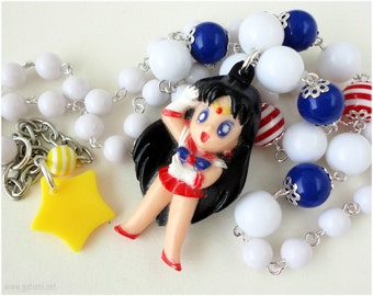 Sailor Mars Necklace, White Red and Blue Beaded Chain with Figure Pendant, Silver Plated - Anime