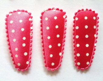 25 pcs -  Cute dot Satin Hair Clip COVERS For Toddler - HOT PINK -  size 35 mm