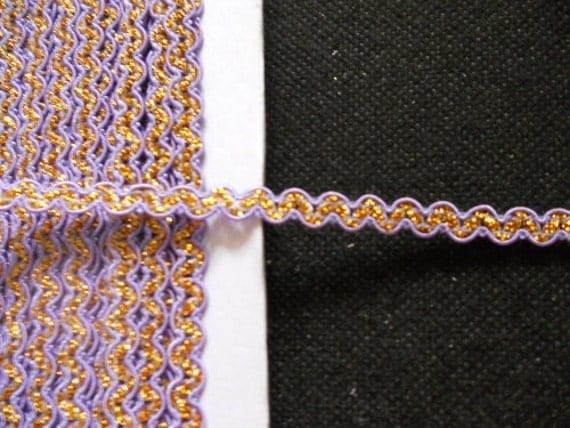 3 yards - Purple and Glitter Gold Ric Rac Trim - size 7 mm