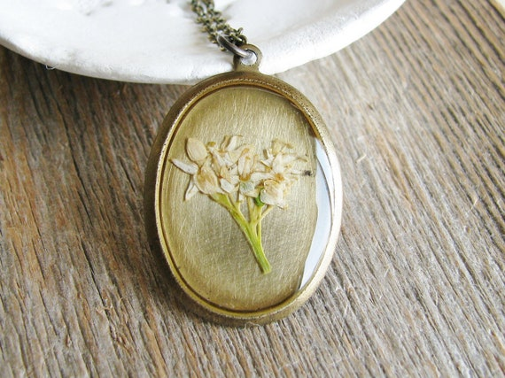 Real Dried Flower Necklace Botanical Jewelry Resin Pendant Preserved Plants White Dogwood Nature Natural History Garden Lover