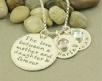 The Love Between a Mother and Daughter Necklace, Peraonalized Jewelry Son Necklace, Sterling Silver Hand Stamped Jewelry