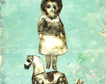A Haunted Old Dream- Vintage dOll, RoCkInG HoRse, buNnY, rObiNs eGg bLuE, Sweet Zombie Spring-Blank 4x6 Card