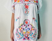 Mexican White Mini Dress Gorgeous Hand Embroidered Fine Medium / Large