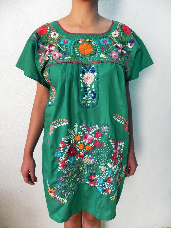Mexican Green Mini Dress Beautiful Colorful Peacock Handmade Medium - Large