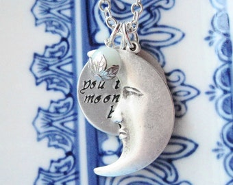 Sterling Silver To The Moon and Back Necklace  -I love you to the moon and back children mom mother custom engraved personalized