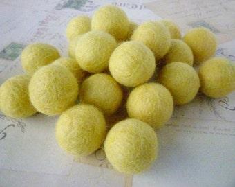 Felt Balls x 10 - Yellow - 2cm
