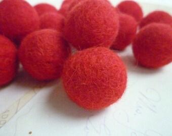 Felt Balls x 10 - Red - 2cm