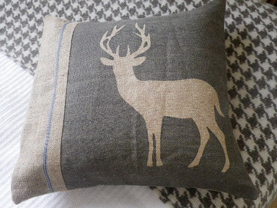 hand printed rustic soft charcoal stag cushion cover