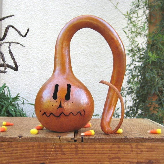 Halloween Gourd Jack O Lantern Natural Fall Harvest Spooky Pumpkin Decoration with Battery Tea Light (hole in the bottom)