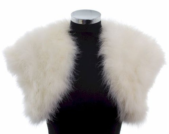 FLAPPER - HOLLYWOOD 1930s GLAMOUR - Ivory Ostrich Feather Stole Wrap Shrug