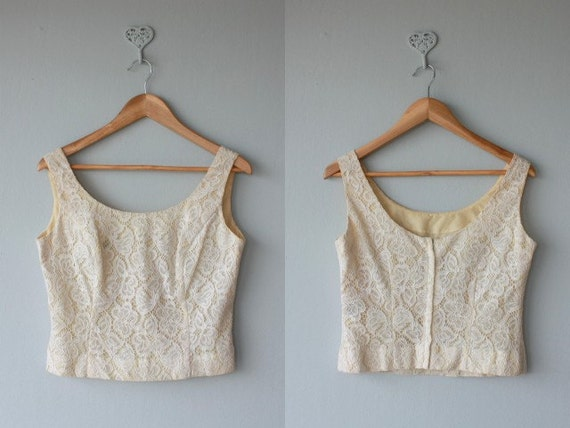 lace tank / 60s top / ivory lace 60s top / 60s lace tank / cropped tank / 1960s vintage shell - size medium