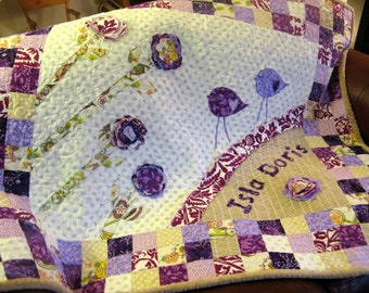Baby Quilt Girl Purple Lavender Flowers Girl Quilt Flowers Birds Baby Quilt Purple Lavendar White Tan Made To Order
