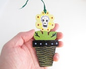 Day of the Dead Sugar Skull Flower Ornament - Handpainted