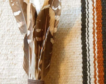 Brown Tan Smudge Fan Handmade with Driftwood Handle Native Inspired