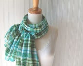 Plaid Cotton Gauze Scarf in Aqua and Lime - LAST ONE