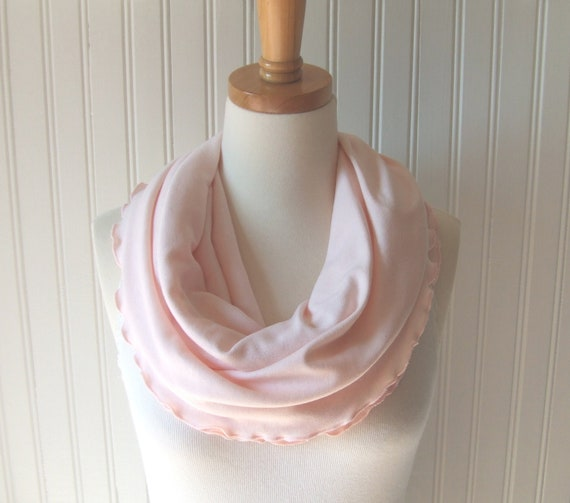 Pale Pink Infinity Scarf - Ruffled Jersey Loop Scarf in Light Pink - Summer Fall Winter Fashion
