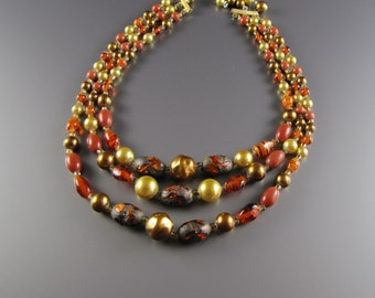 1940's Art Glass Necklace Earth Tones