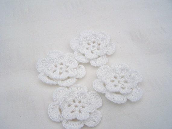 Crochet flower set of 4 cotton 1.5 inch white