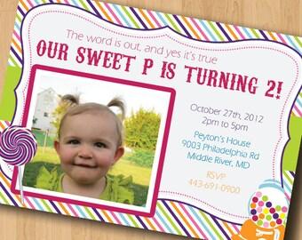Candy Themed Birthday - Birthday Party Invitation - Digital File