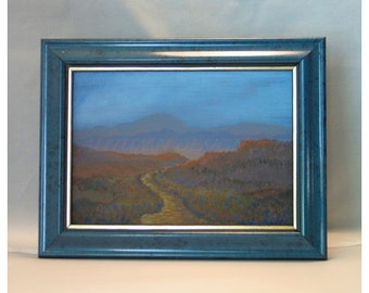 Original Impressionistic Landscape Painting 5X7 on Canvas Board Follow the Path -  Original 5x7