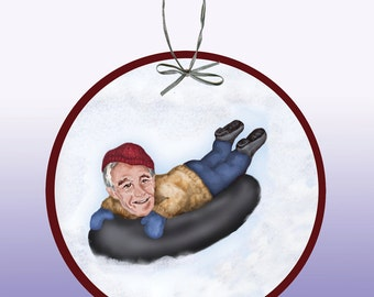 Ron Paul Tubing on a Snowy Winter Day Paper Ornament