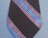 40s 50s Neck Tie Vintage 1940s 1950s Silver Pin Stripe Brown