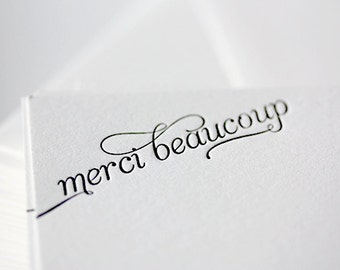 merci beaucoup | letterpress thank you cards in french