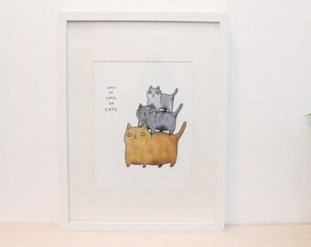 Winter Sale! CATS3 - 8x10 - illustration art print