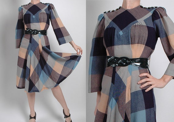 Unique 1940's Plaid Wool Swing Dress with Brass Studded Buttons and Great Belt, 40's, 1930's, 30's