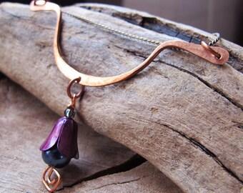 Copper Pendant Necklace Connector - Flower Drop Dangle Bar - End Bar Supplies - Long Bar Connector - Curved Hammered Bar. artisan Bar